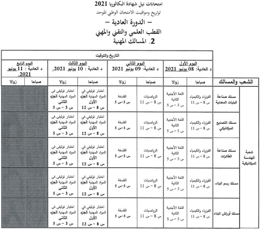 3 تاريخ اجتياز الامتحان الوطني والجهوي 2021