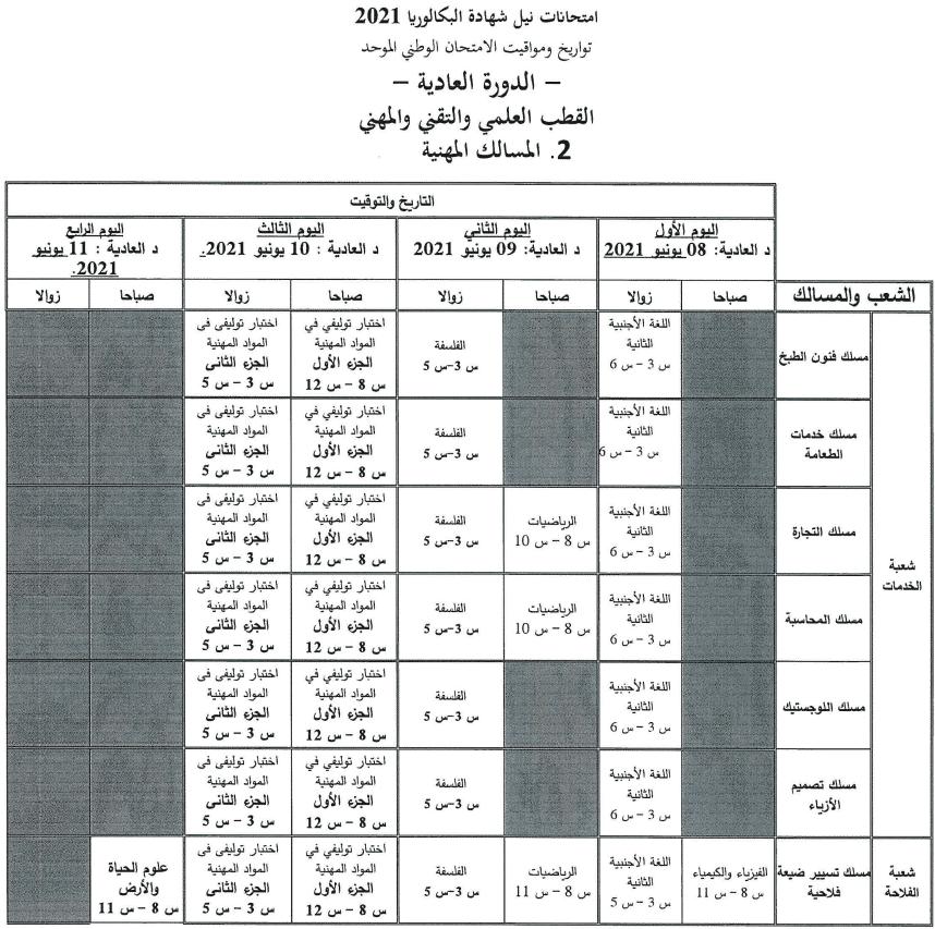 4 تاريخ اجتياز الامتحان الوطني والجهوي 2021