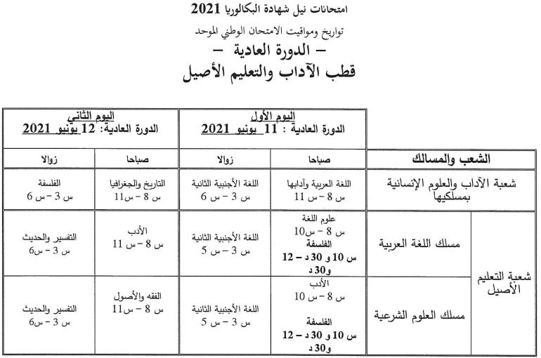 5 تاريخ اجتياز الامتحان الوطني والجهوي 2021