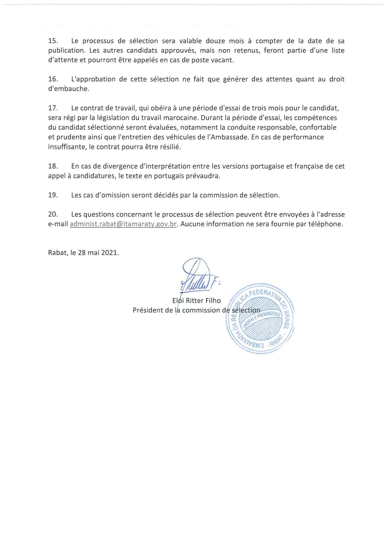 Appel a Candidature poste dAuxiliaire dAppui Chauffeur 3 L'Ambassade du Brésil recrute un Chauffeur Auxiliaire d'Appui Salaire 8000 Dhs
