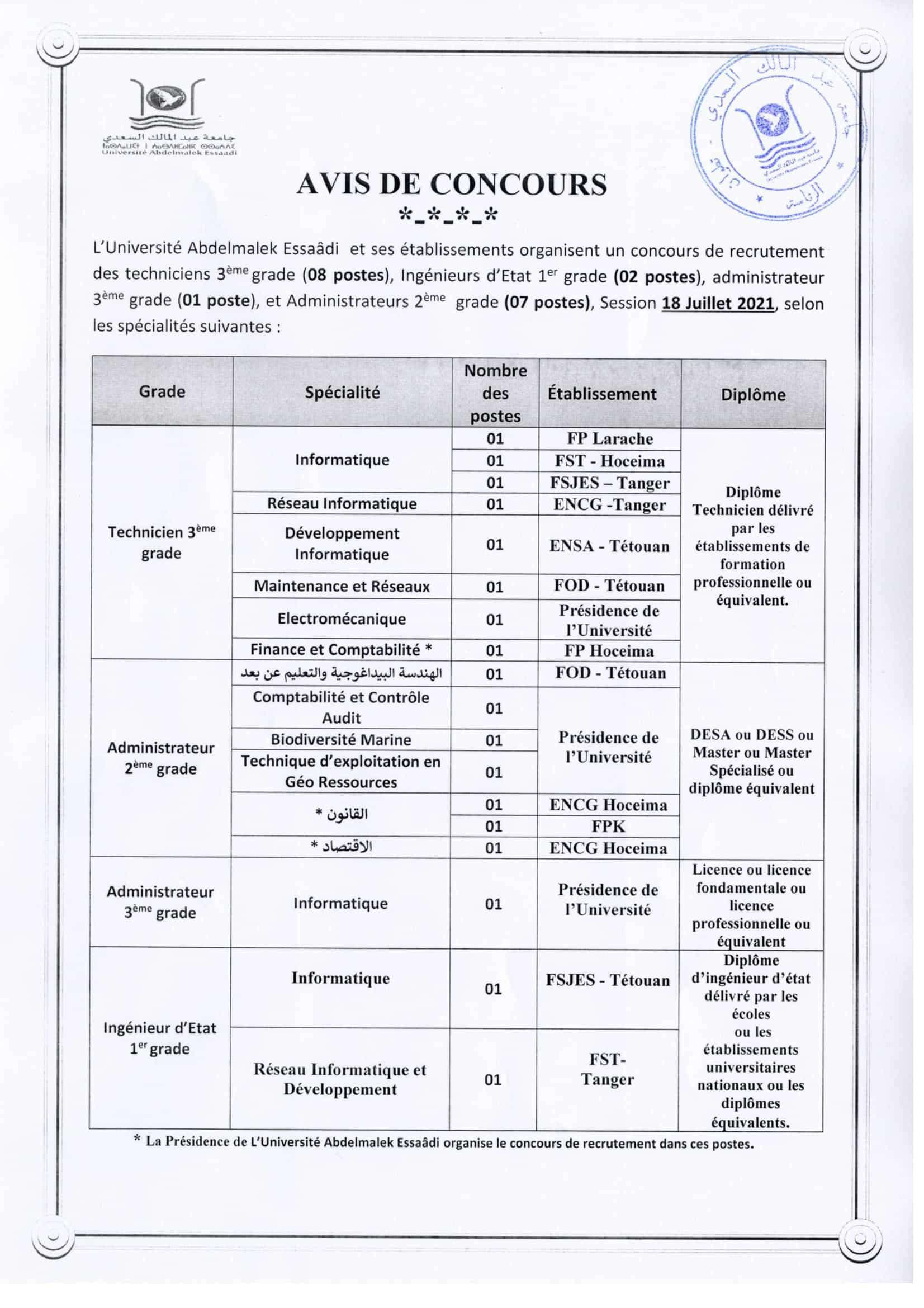 avis concours 18072021 3 Liste des Convoqués Concours Université Abdelmalek Essaâdi 2021 (40 Postes)