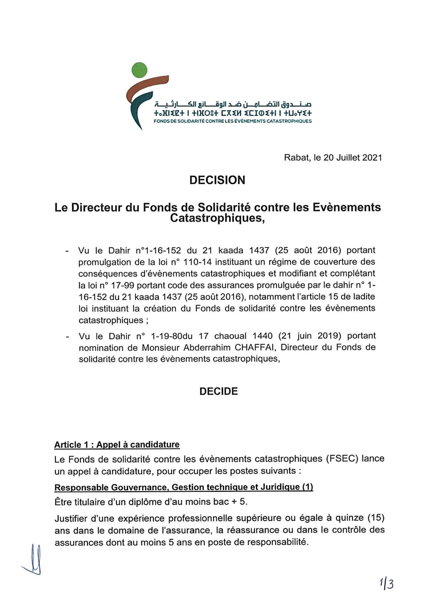 FSEC Decision Rectuement20212 1 Concours Fonds de Solidarité contre les Evénements Catastrophiques 2021 (5 Postes)