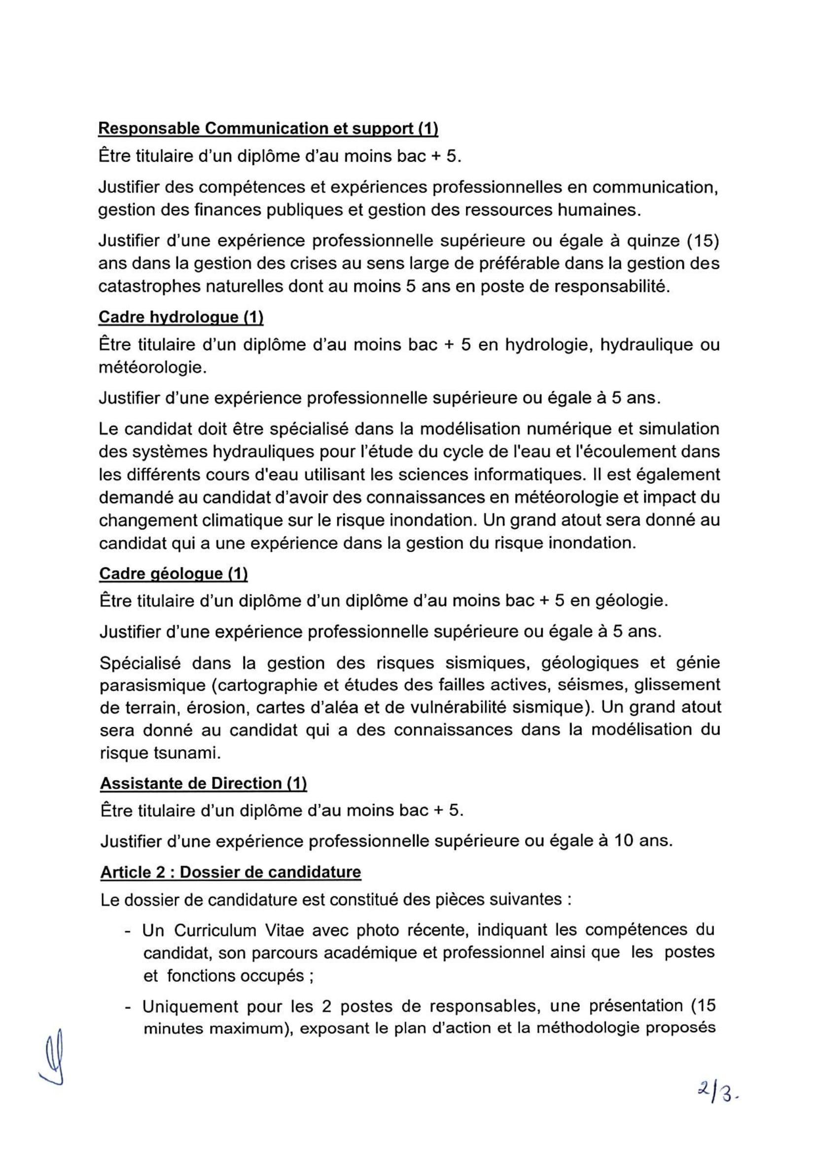 FSEC Decision Rectuement20212 2 Concours Fonds de Solidarité contre les Evénements Catastrophiques 2021 (5 Postes)