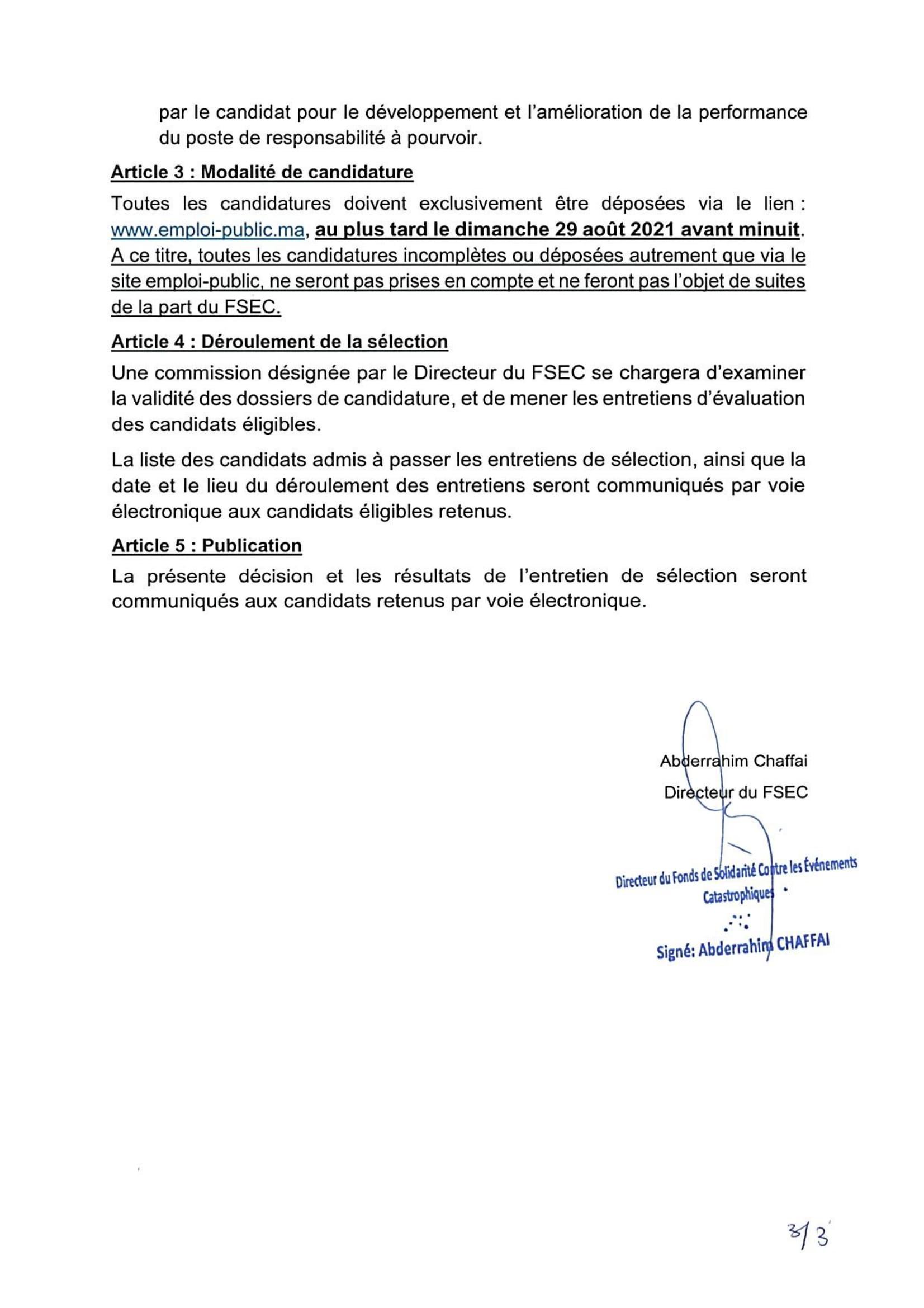 FSEC Decision Rectuement20212 3 Concours Fonds de Solidarité contre les Evénements Catastrophiques 2021 (5 Postes)