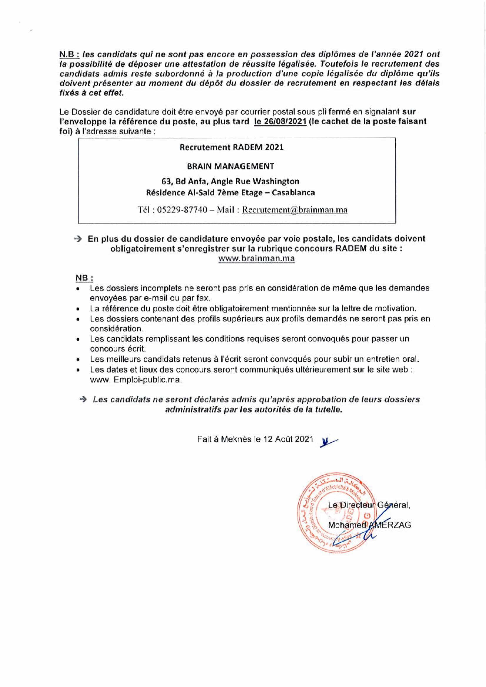 AGENTSDEMAITRISE 2 Concours de Recrutement RADEM 2021 (30 Postes)