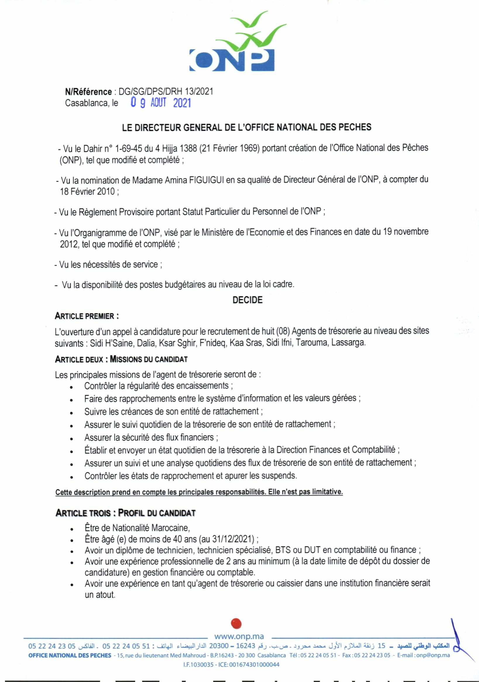 AvisdappelcandidatureAgentsdetrsorerie2021 2 1 Concours Office National des Pêches ONP 2021 (18 Postes)