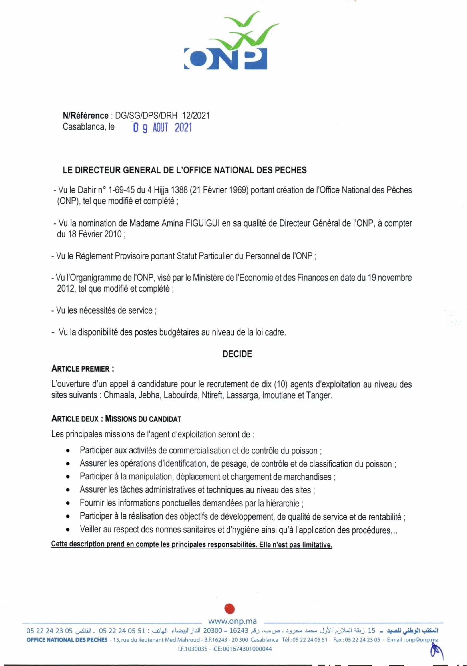 AvisdappelcandidatureAgentsdexploitation2021 1 1 Concours Office National des Pêches ONP 2021 (18 Postes)