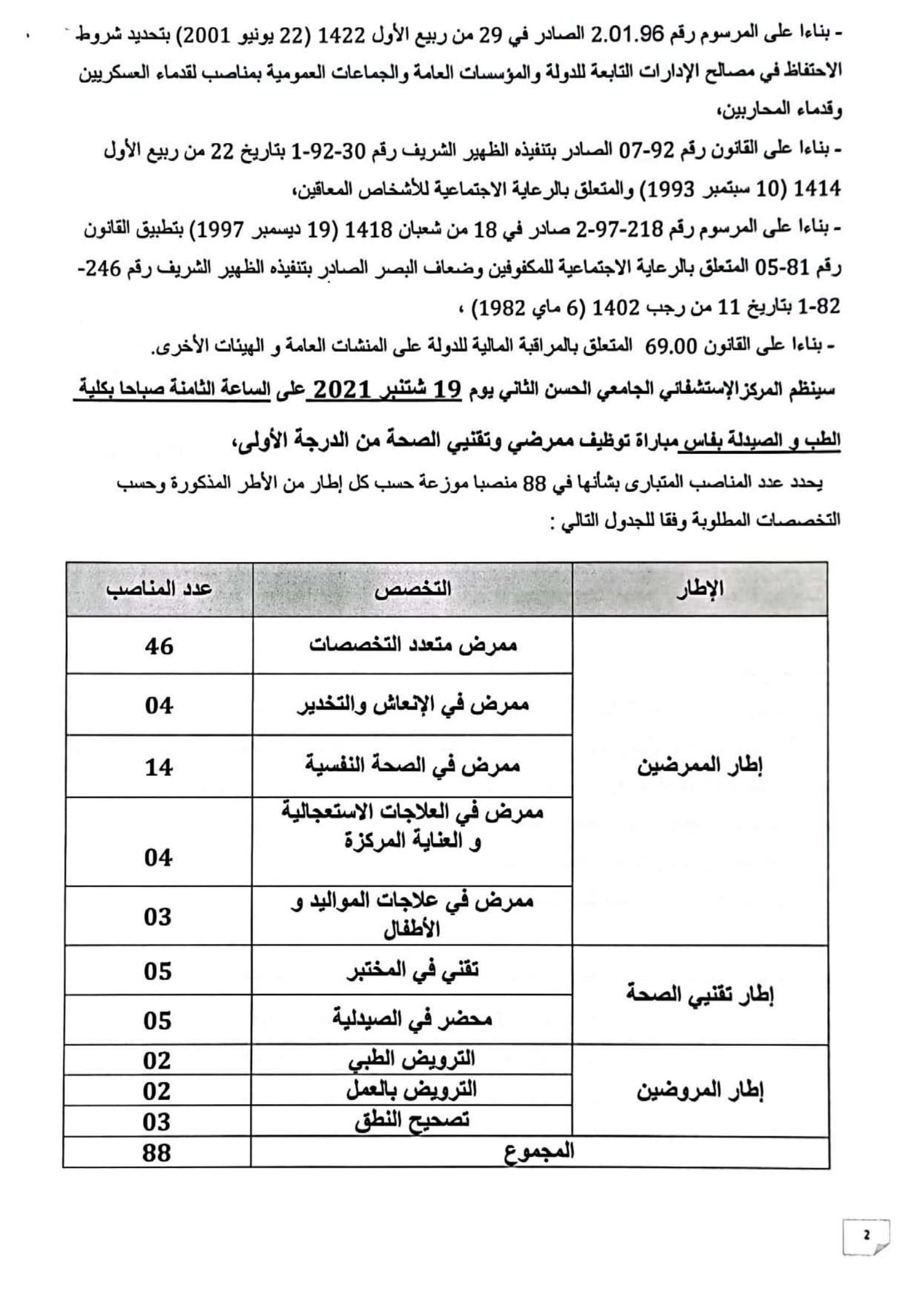 DRHFC0496 2 Concours de Recrutement CHU Hassan II 2021 (88 Postes)