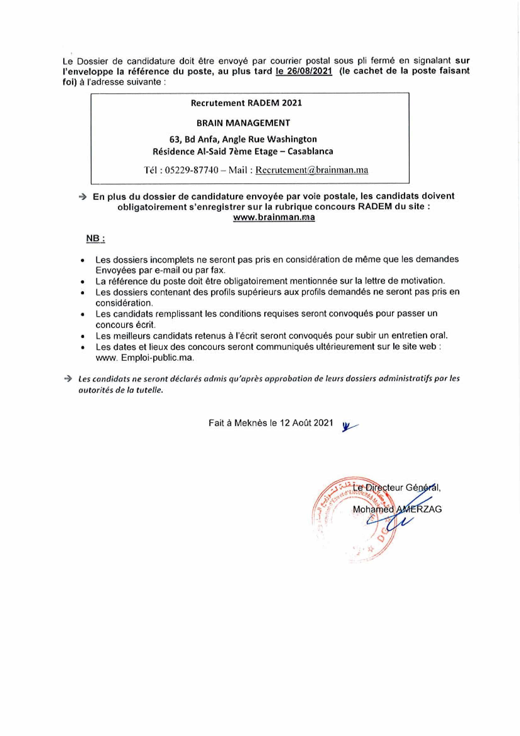 INGENIEURSETCADRES1 2 Concours de Recrutement RADEM 2021 (30 Postes)
