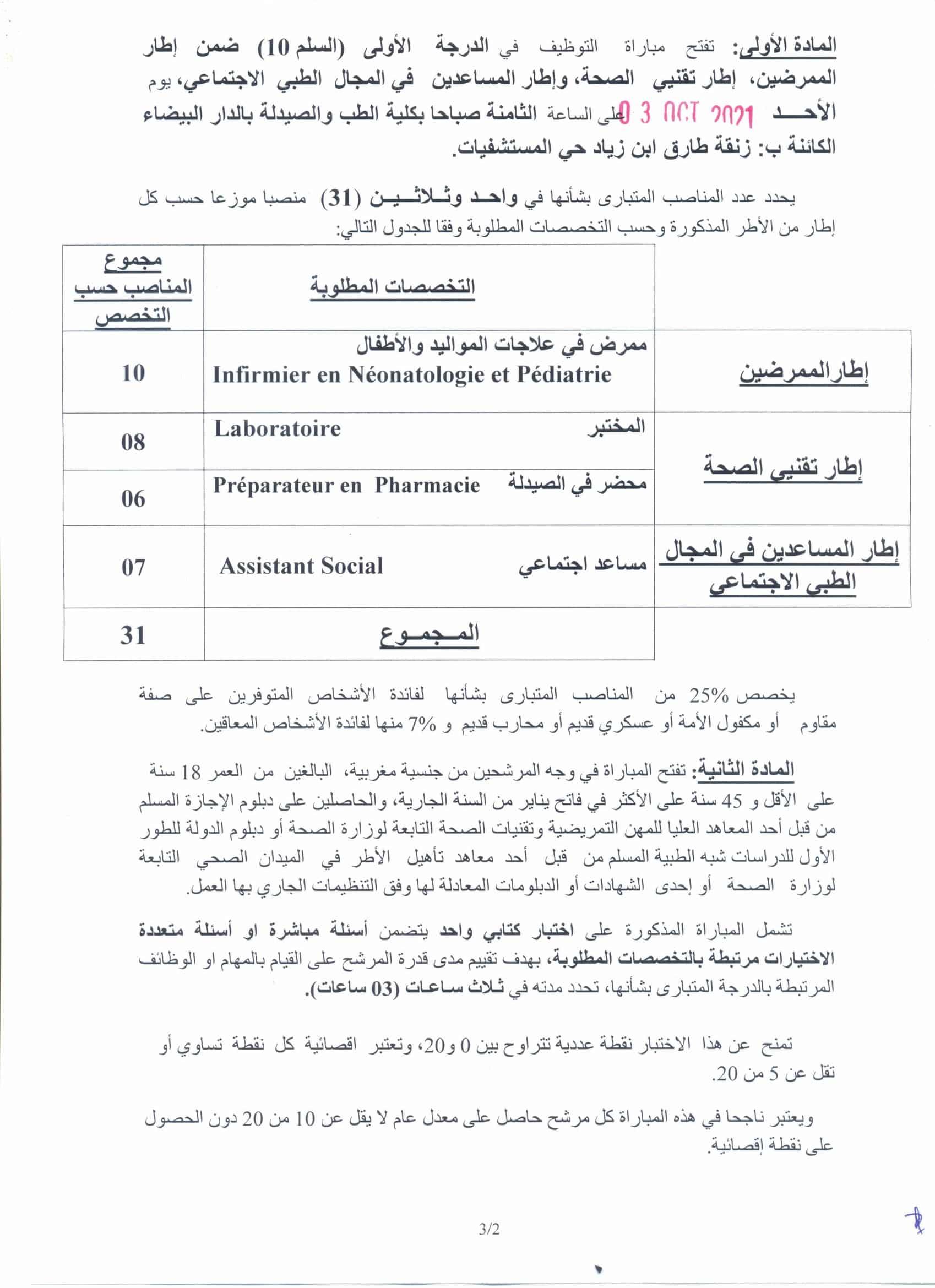 RECRUTINF3102021 2 Concours de Recrutement CHU Ibn Rochd 2021 (156 Postes)