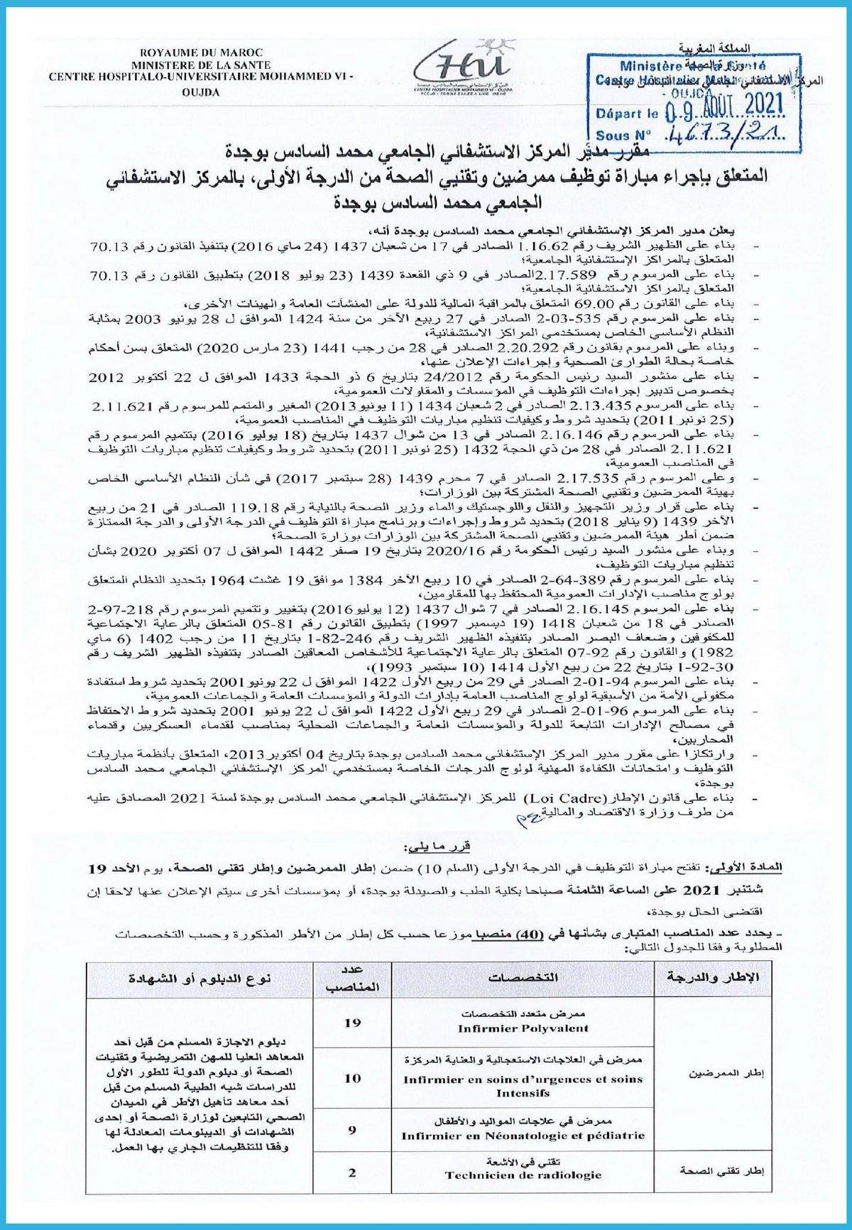 chu m610 Concours CHU Mohammed VI Oujda 2021 (40 Postes)