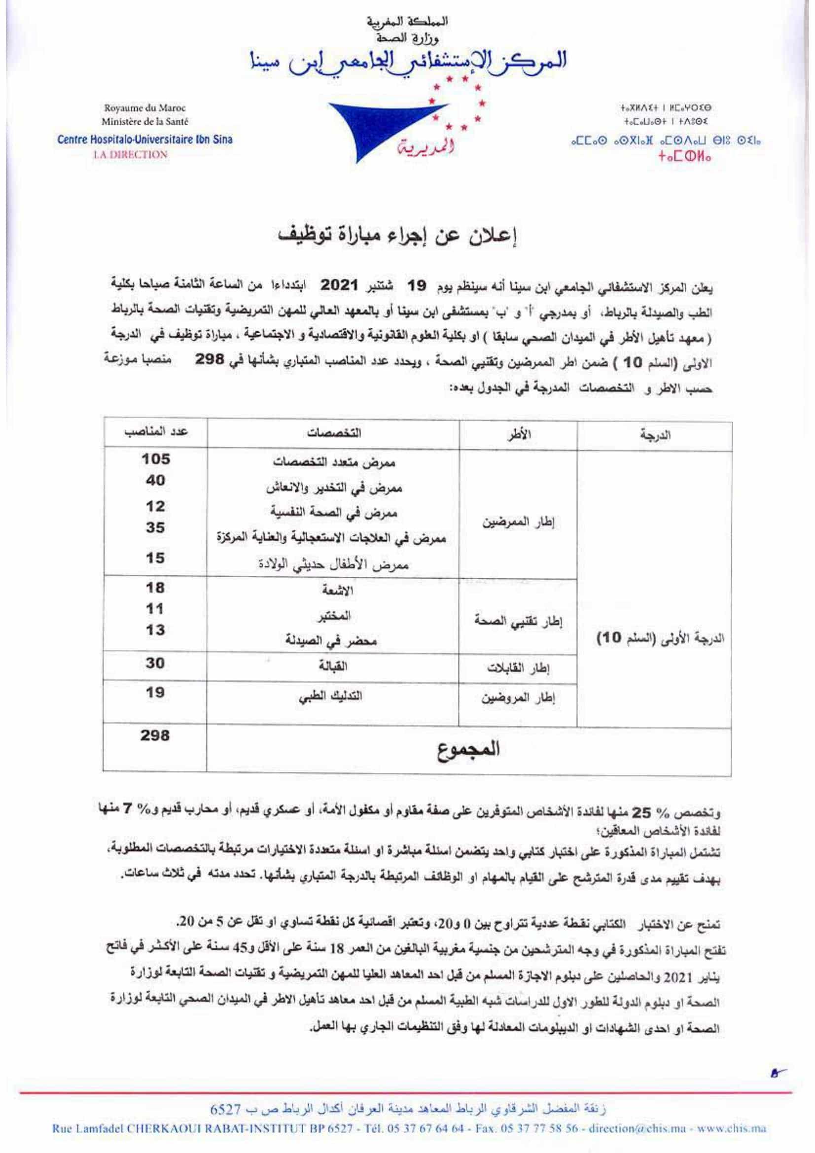 decisionavisrecrutementinfiettechsante 4 Concours CHU Ibn Sina 2021 (298 Postes)